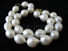 "B3214- 2row 8"" 13mm natural white baroque freshwater pearl bracelet - 14k GP"