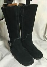 WESTIES CLOUD SUEDE LEATHER KNEE HIGH BOOTS SIZE 38  6.5 BLACK  SHOES HI