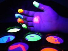 Finger Paints Set of 6 x 2oz Pots- Washable UV Reactive Neon