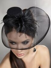 Black Elegant Fascinators Feather Headpieces Silk Fishing-Net Hat Cocktail Veils
