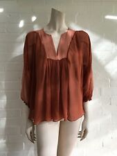 See by Chloé Chloe Pleated Sheer Silk Tunic Top Size I 40 UK 8 US 4 S Small