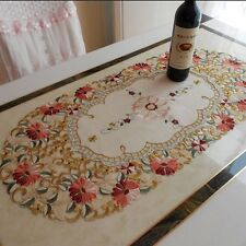 "yazi Embroidered Daisy Floral Cutwork Fabric Tablecloth Oval 15""x33"" Table Cover"