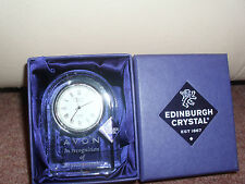 COLLECTABLE EDINBURGH CRYSTAL BURNS CLOCK 40 YEARS SERVICE AVON