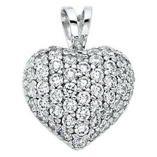 "14K White Gold 0.45 Ct Diamond Pave Puffed Heart Pendant for Necklace 1/2"" 2.1gr"
