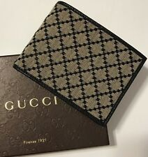 NWT GUCCI Men's 143384 NAVY LEATHER BEIGE DIAMANTÉ CANVAS BIFOLD WALLET