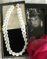 RARE Vintage 50s Audrey Hepburn Era White Milk Glass Woven Beads Necklace Bridal