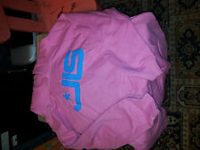GIRLS PINK HOODY WITH BLUE JLS LOGO ONLY TRIED ON AGE 7-8 YEARS