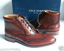 Cole Haan men size 8.5 leather brown boots oxford style wing tip design NIB