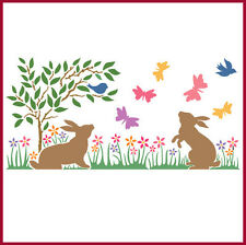 BUNNY GARDEN BORDER STENCIL - CHILDREN'S STENCIL - The Artful Stencil