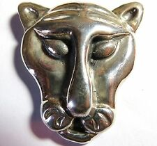 VINTAGE LARGE STERLING SILVER TIGER OR LION HANDCRAFTED PIN BROOCH 30gr. 1 OUNCE