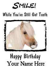 Horse Happy Birthday Card Smile Teeth5 A5 Personalised Greeting