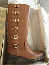 NEW BCBGENERATION COGNAC LEATHER TALL RIDING BOOTS WOMENS 8 GENUINE LEATHER