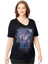 Just My Size Graphic Shirred Sides V Neck Tee Shirt  Heather Fabric 4X Black