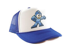 Vintage Mega Man Trucker Hat video game mesh hat snapback hat royal blue