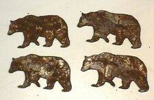"""Lot of 4 Bear Grizzly 3"""" Rusty Metal Vintage Stencil Ornament Craft Stencil"""