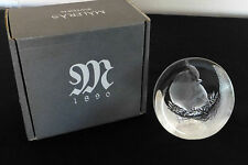 MATS JONASSON Sweden Etched Crystal Glass Paperweight - Cardinal Bird
