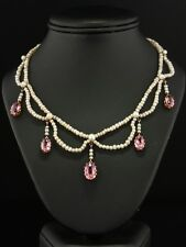 GENUINE VICTORIAN 7,23 Ct NATURAL PINK TOPAZ AND PEARL ROMANTIC NECKLACE