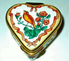 HALCYON DAYS ENAMEL BOX - HEART WITH SINGING BIRD & RIBBON - CHRISTINA ROSSETTI