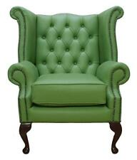 Chesterfield Armchair Queen Anne High Back Wing Chair Apple Green Leather