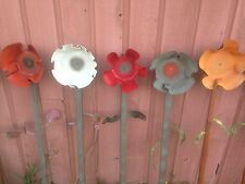 Decorative Up-Cycled Vinyl Record Flowers; Lawn/Garden Decor, Plow Stakes, more