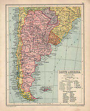1934 MAP ~ SOUTHERN SOUTH AMEICA CHILE PROVINCES URUGUAY FALKLAND PARAGUAY