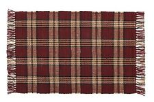 """WINCHESTER 24"""" X 42"""" Woven Cotton Area Rug Burgundy Wine,Tan, Black, Olive"""