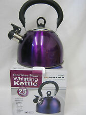 New Prima Camping Stove Whistling Kettle Gas Electric Hob 2.5Litre Purple 11155C
