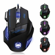 New Zelotes 7200 DPI 7 Button USB LED Light Optical Wired Pro Gaming Mouse