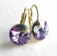 Women's 14K Gold Plated 12mm Purple Swarovski Element Crystal Earrings