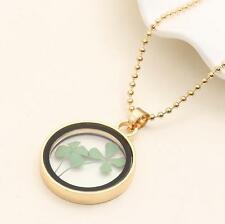 Green Real Dried Four Leaf Clover Round Good Lucky Jewelry Pendant Necklace