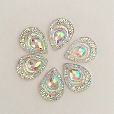 20pcs AB drop Resin peacock  Flatback Rhinestone appliques  Wedding decoration