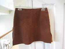 HUGO BUSCATI Collection 100% Leather Brown Suede mini Skirt - EUC - SIZE 2
