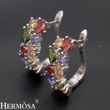 """Luxury Amethyst Peridot Garnet Citrine Topaz 925 Sterling Silver Earrings 3/4"""""""