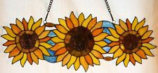 "Tiffany Stained Glass Panel -"" Sunflower Trio"""