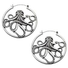 Octopus hoop earrings body piercing jewelry plug tunnel 20g silver 316L gothic