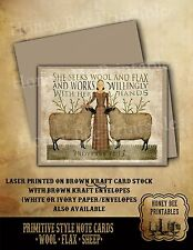 Primitive Note Cards - Brown Kraft w/ env - Sheep Wool Flax Proverbs 31:13