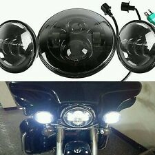 """Black 7"""" LED daymaker Headlight + 4.5 Aux Passing Light For Harley Motorcycle"""