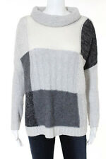 Autumn Cashmere Gray Checkered Cashmere Turtleneck Sweater Size Small