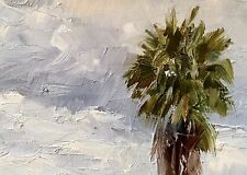 ACEO Original Oil Painting, Palm Tree and Sky by Gary Bruton