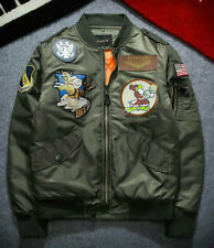 NEW Men's Air Jacket MA1 Army Flight Bomber Jacket Coat Embroidered 334 Outwear