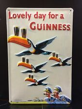 GUINNESS Flying Toucans Vtg Metal Pub Sign 3D Embossed Steel Decor,Irish