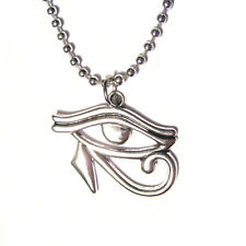 """Egyptian Eye of Horus Charm 24"""" Silver Plated Necklace"""