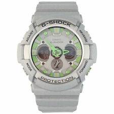 Casio GA200SH-8 Wrist Watch with Green Accent and Silver Band