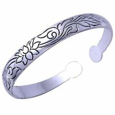 Vintage Tibet Womens Silver Plated Lotus Flower Cuff Bangle Bracelet Adjustable