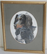 Vintage Dog Watercolor Painting of Two Beagles