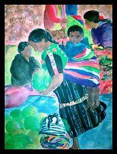 Dipinto acrilico su cartone telato GUATEMALA- Mercato di Chichicastenango