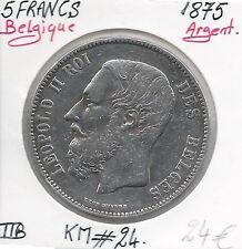 BELGIO - 5 FRANCHI - Leopold II - 1875 - Moneta in argento Conservazione: TTB