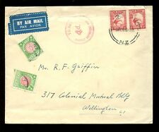 POSTAGE DUE NEW ZEALAND 1939 DOUBLE DEFICIENT in RED INTERNAL AIRMAIL 3d + 1d