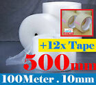 500mm x 100m Bubble Wrap Clear Bubble Roll + 12 x 75M Clear Packaging Tape
