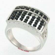 Abacus Design Genuine Black Onyx Bead Ring Size 7.5 Set with Sterling Silver 925